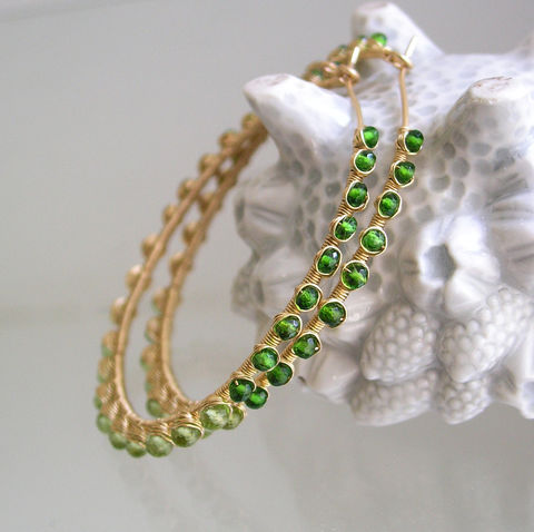 Chrome,Diopside,14k,Gold,Filled,Hoops,,Wire,Wrapped,Peridot,Statement,Earrings,Jewelry,Chrome_Diopside,Gold_Filled_Hoops,Ombre,Statement_Jewelry,Artisan_Made,Original_Design,Signature,Peridot_Earrings,Bellajewels,Bella_Jewels,Holiday_Earrings,Gem_Studded_Hoops,Vibrant_Green_gems,14k gold filled wire,gemstones,peridot,chrome