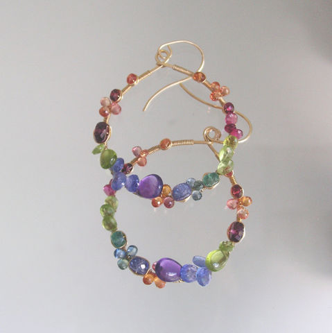 Multi,Gemstone,14k,Gold,Filled,Hoops,,Colorful,Earrings,with,Sapphire,,Peridot,,Emerald,,Tanzanite,,Garnet,Jewelry,Gemstone_Hoops,Colorful_Teardrop,Teardrop_Earrings,Tanzanite_Dangles,Peridot_Jewelry,Sapphire_Hoops,Tourmaline_Hoops,Amethyst_Hoops,Original_Design,Signature,Bellajewels,Rainbow_Gem_Hoops,Wire_Wrapped_Hoops,14k gold filled wire,gemstones