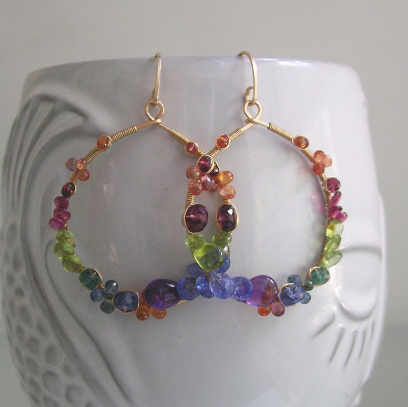 Multi Gemstone 14k Gold Filled Hoops, Colorful Earrings with Sapphire, Peridot, Emerald, Tanzanite, Garnet - product images  of