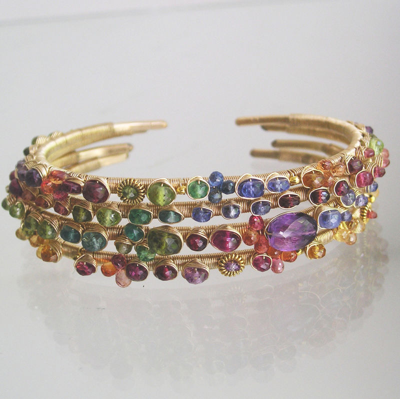 Rainbow Gemstone 14k Gold Filled Cuff, Wire Wrapped Gemstone Stackable Bracelet with Sapphire, Tanzanite, Red Spinel, Tsavorite, Tourmaline - product images  of
