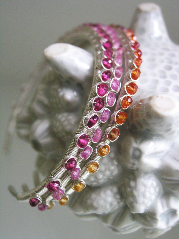Orange Sapphire Sterling Silver Wire Wrapped Stackable Cuff Bracelet  - product images  of