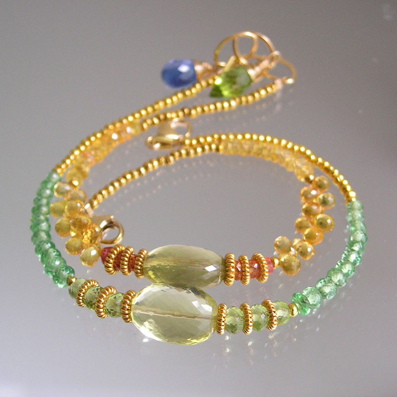 Tsavorite and Lemon Quartz Beaded Layering Bracelet with Peridot and Vermeil Beads  - product images  of