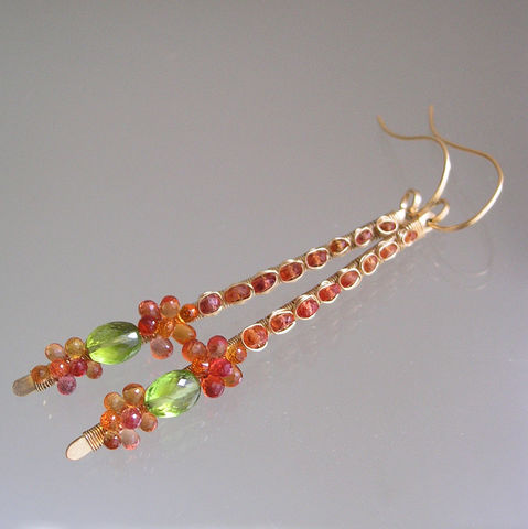 Fiery,Orange,Sapphire,14k,Gold,Filled,Earrings,,Wire,Wrapped,Linear,Dangles,with,Peridot,,Made,to,Order,Jewelry,Earrings,Artist_Made,Original_Design,Orange_Earrings,Sapphire_Earrings,Linear_Dangles,Peridot_Earrings,Wire_Wrapped,Bellajewels,Bella_jewels,Fiery_Orange,Sapphire_14k_Gold,Filled_Earrings,Dramatic_Earrings,14k gold filled wire,gemstones,sapphire,p