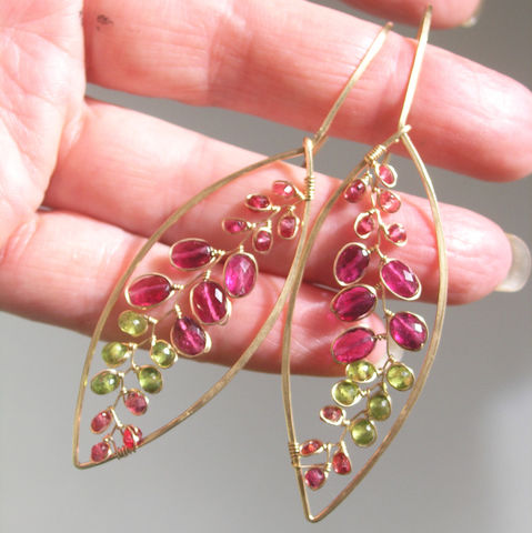 Rubellite,Tourmaline,14k,Gold,Filled,Elongated,Leaf,Earrings,,Orange,Sapphire,Dangles,,Lightweight,Jewelry,,Gemstone,Vines,,Original,Design,Jewelry,Earrings,Rubellite_Tourmaline,14k_Gold_Filled,Elongated_Leaf,Leaf_Earrings,Lightweight_Jewelry,Gemstone_Vines,Original_Design,Orange_Sapphire,Sapphire_Dangles,Fiery_Gem_Leaves,BellaJewels,Tourmaline_Vines,Magenta_Gem_Dangles,14k gold filled wire,r