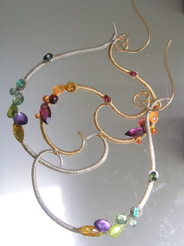 Mixed,Metal,Multi,Gemstone,Sculptural,Hoops,,Large,Earrings,with,Tourmaline,,Garnet,,Emerald,,Sapphire,,Apatite,Jewelry,Emerald_Earrings,Original_Design,Mixed_Metal,Gemstones_Hoops,Sculptural_Hoop,Hoop_Earrings,Stylized_Heart,Heart_Dangles,Wire_Wrapped_Dangles,Tourmaline_Earrings,Garnet_Earrings,Mixed_Metal_Earrings,bellajewels,14k gold filled,gold filled
