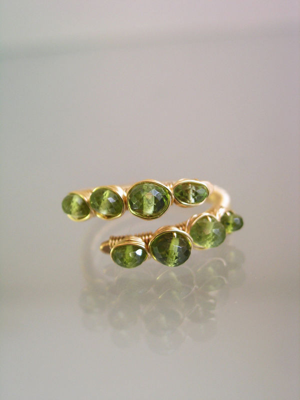 Peridot 14k Gold Filled Wire Wrapped Cocktail Ring with Vesuvianite, Size 6 - product images  of