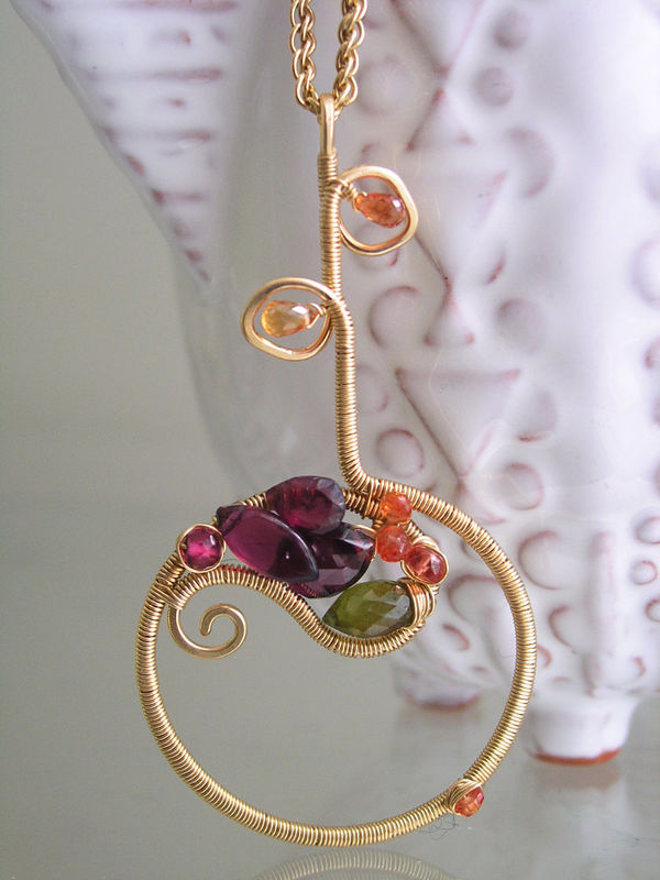 Sculptural Paisley Gemstone Circle Pendant,  Gold Filled Flower Necklace with Garnet, Orange Sapphire, Vesuvianite - product images  of