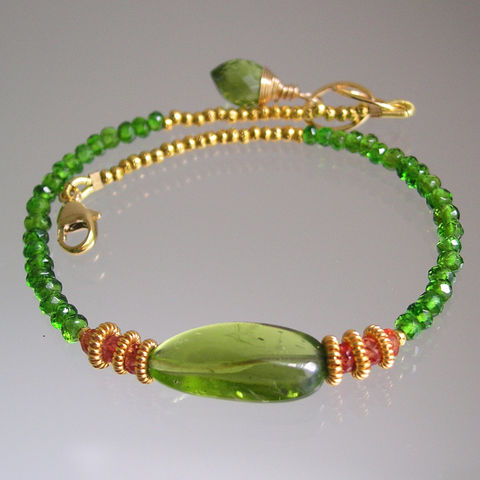 Peridot,Beaded,Layering,Bracelet,with,Sapphires,and,Chrome,Diopside,Jewelry,Peridot_Bracelet,Gemstone_Bracelet,Statement_Jewelry,Chrome_Diopside,Layering_Bracelet,Orange_Sapphire,Vermeil_Bracelet,Original_Design,Signature_Design,Bellajewels,Bella_jewels,Stacking_Jewelry,Holiday_Bracelet,matte gold beadalon,14k go