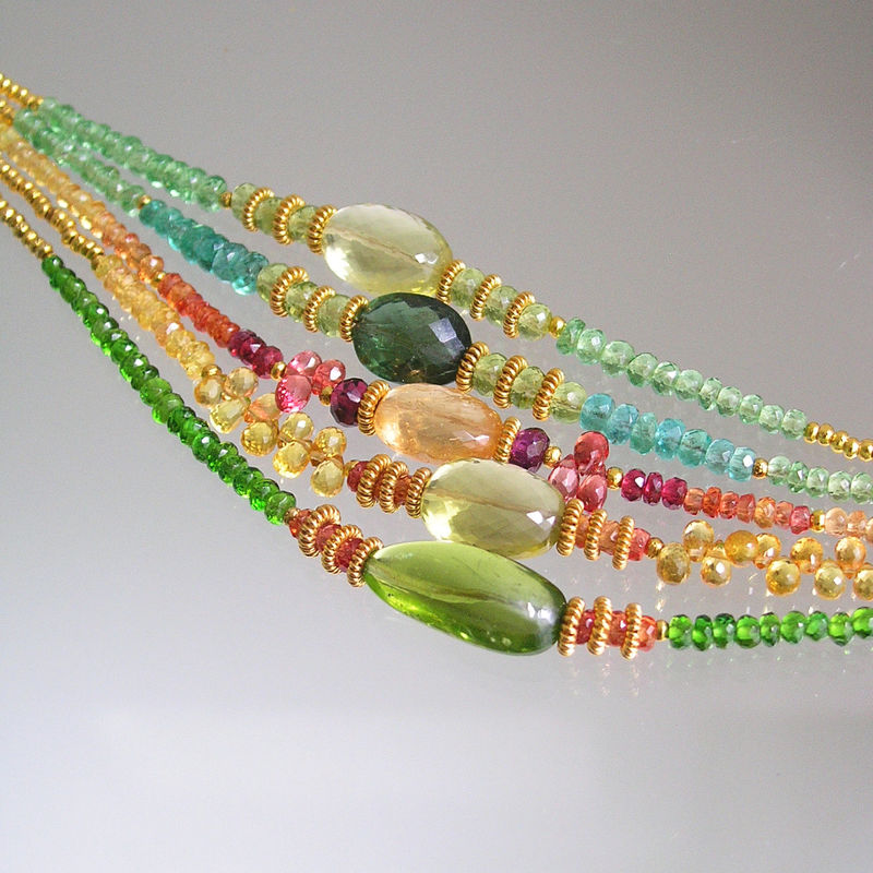 Peridot Beaded Layering Bracelet with Sapphires and Chrome Diopside - product images  of