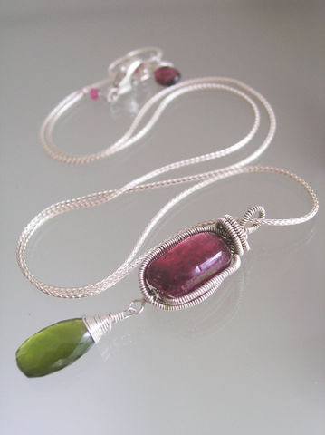 Pink,Tourmaline,Wire,Wrapped,Sterling,Pendant,with,Vesuvianite,Dangle,,Everyday,Classic,Necklace,Jewelry,Vesuvianite_Dangle,Pomegranate,Everyday_Classic,Original_Design,Pink_Tourmaline,Sterling_Pendant,Wire_Wrapped,Gemstone_Necklace,Tourmaline_pendant,bellajewels,bella_jewels,artist_made,simple_design,sterling foxtail,sterling lobster clasp