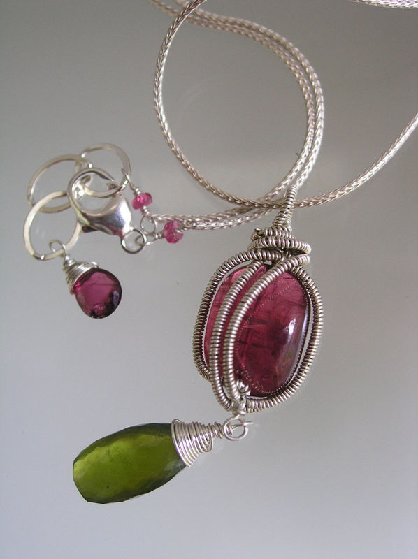 Pink Tourmaline Wire Wrapped Sterling Pendant with Vesuvianite Dangle, Everyday Classic Necklace - product images  of