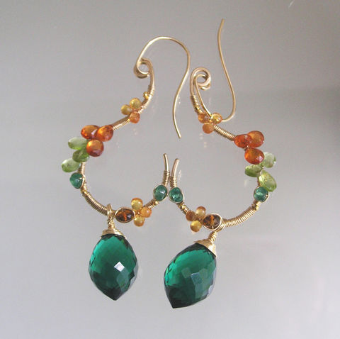 Gemstone,14k,Gold,Filled,Earrings,with,Peridot,,Sapphire,,Green,Quartz,,Emerald,,Spessartite,Jewelry,Wire_Wrapped_Jewelry,Green_Quartz,Original_Design,Signature_Earrings,Gemstone_Gold,Filled_Earrings,Spessartite_Dangles,Peridot_Dangles,Sapphire_Curled,Sapphire_Dangles,Bellajewels,Holiday_Earrings,Autumn_Gem_Dangles,14k gold filled wire,g