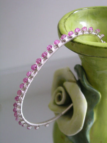 Pink,Sapphire,Wire,Wrapped,Sterling,Silver,Stackable,Cuff,Bracelet,Jewelry,bella_jewels,pink_sapphire_cuff,Argentium,Violet_Pink,Gemstone_Bracelet,Slender,Wire_Wrapped,Artist_Made,Original_Design,Signature,Sapphire_Silver,Stackable_Cuff,Studded_gem_cuff,argentium silver wire,gemstones,pink sapphire