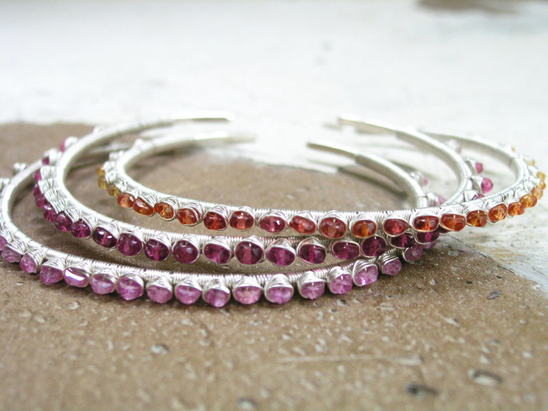 Pink Sapphire Wire Wrapped Sterling Silver Stackable Cuff Bracelet - product images  of