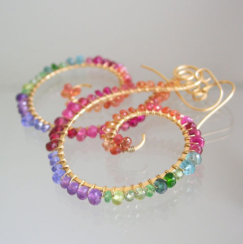 Rainbow,Gemstone,Gold,Filled,Nautilus,Earrings,,Bohemian,Spiral,Dangles,with,Sapphire,,Amethyst,,Emerald,,Tanzanite,,Ruby,Jewelry,Earrings,rainbow_gemstone,gold_filled_nautilus,spiral_earrings,nautilus_earrings,rainbow_spirals,bohemian,original_design,bellajewels,bella_jewels,colorful_gem_earring,sapphire_spirals,handmade_in_USA,statement_earrings,14k gold fill,wire,gemstone