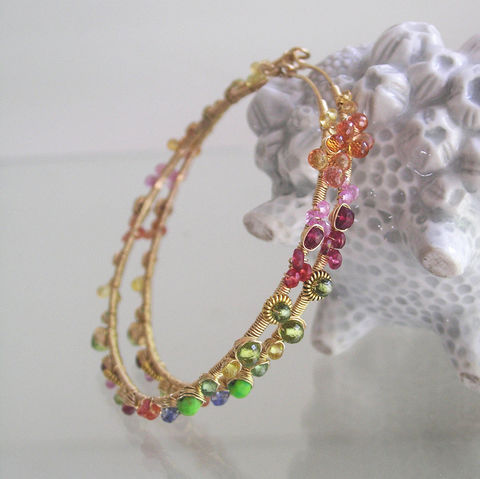 Rainbow,Gemstone,14k,Gold,Filled,Hoops,,Sapphire,,Spinel,,Turquoise,,Peridot,,Tsavorite,Jewelry,Earrings,Eclectic_Gemstone,Eclectic_Hoops,Large_Gold_Filled,Gold_Filled_Earrings,Wire_Wrapped_Hoops,Sapphire_Hoops,Spinel_Gold_Hoops,Turquoise_Hoops,Lightweight_Hoops,Original_Design,Signature,Bellajewels,Artist_Made_Jewelry,vesuvianite,peridot,gr