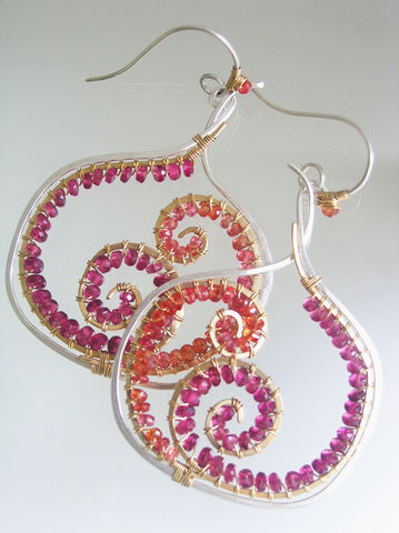 Sapphire,and,Tourmaline,Mixed,Metal,Spiral,Earrings,Jewelry,sapphire_tourmaline,tourmaline_earrings,nautilus_wire_spiral,mixed_metal,sculptural_dangles,gemstone_earrings,fronds,fuchsia,tangerine,original_design,bellajewels,bella_jewels,argentium silver,14k gold filled wire,pink tourmaline,sapphire