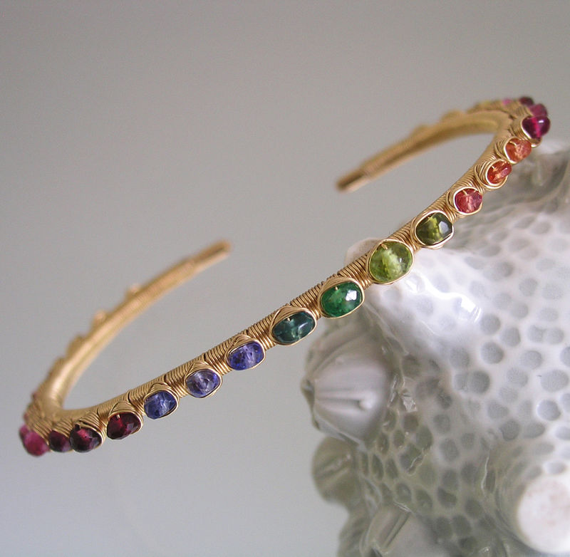 Rainbow Gemstone 14k Gold Filled Cuff, Stackable Wire Wrapped Bracelet with Sapphire, Garnet, Spinel, Tourmaline, Ruby, Peridot  - product images  of