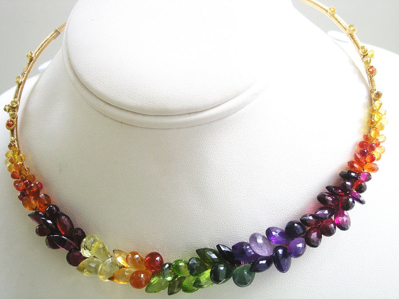 Rainbow Gemstone Encrusted 14k Gold Filled Collar, Choker with Sapphire, Amethyst, Peridot, Garnet, Apatite, Tourmaline - product images  of