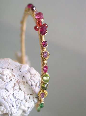 Colorful,Gemstone,14k,Gold,Filled,Wire,Wrapped,Bangle,,Rainbow,Bracelet,with,Ruby,,Sapphire,,Spinel,,Tourmaline,Jewelry,Original_Design,Signature_Bangle,Colorful_Bangle,Gemstone_Bangle,Artisan_Made,Sapphire_Bracelet,Wire_Wrapped,Gold_filled,Stackable,rainbow__bangle,rainbow_gemstone,bellajewels,rainbow_bracelet,14k gold filled wire,gemstones,vermeil elemen