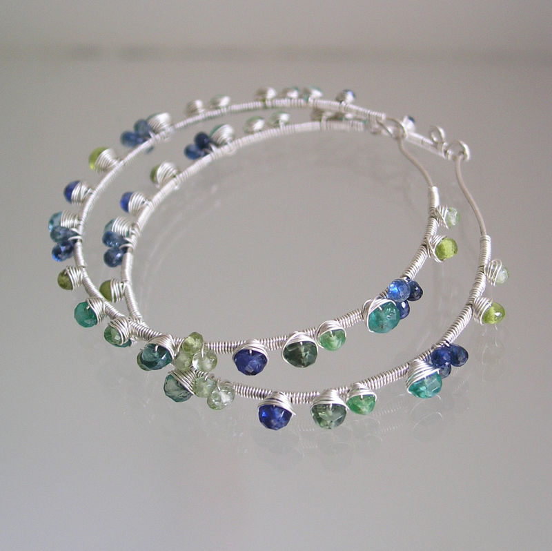 Blue Green Gemstone Hoops, Sterling Wire Wrapped Earrings, Kyanite, Emerald, Apatite, Tourmaline, Kyanite - product images  of