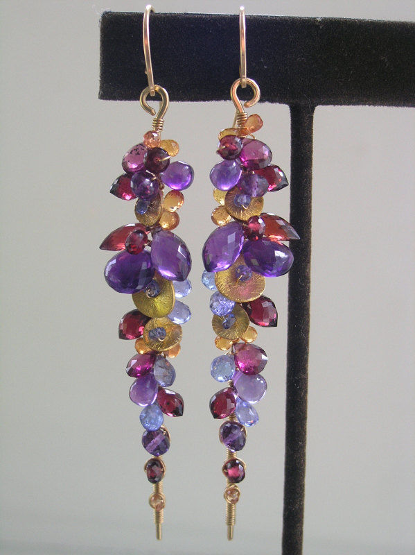 Linear 14k Gold Filled Amethyst Encrusted Earrings, Wire Wrapped Dangles with Sapphire, Garnet, Tanzanite - product images  of