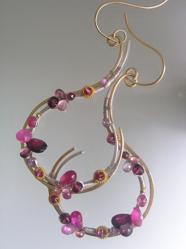 Mixed Metal Sculptural 14k Gold Filled Tourmaline Earrings with Sapphires and Ruby - product images  of