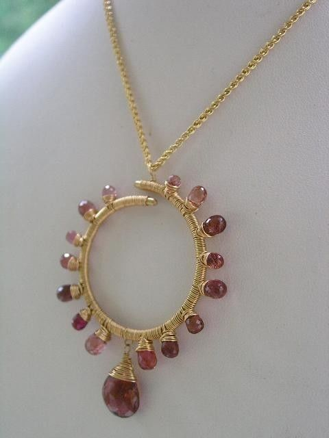 Pink Tourmaline Starburst Circle Pendant, Wire Wrapped Gemstone Necklace - product images  of