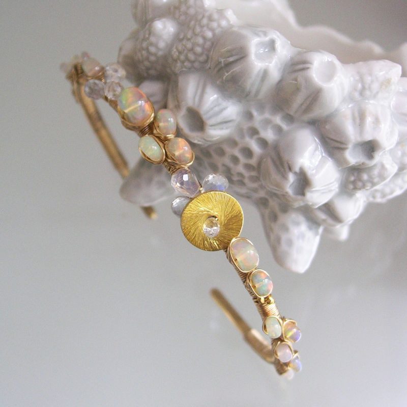 Opal 14k Gold Filled Wire Wrapped Cuff, Moonstone Bracelet, Artist Made Stackable Gemstone Cuff, Bridal Jewelry, Original Design, Signature - product images  of