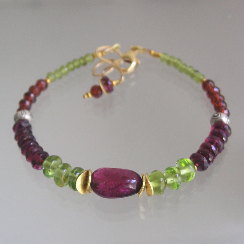 Tourmaline Beaded Bracelet, Peridot Layering Bracelet, Skinny Jewels, Mixed Metal, Rhodolite Garnet, Vesuvianite, Original Design, Signature - product images  of