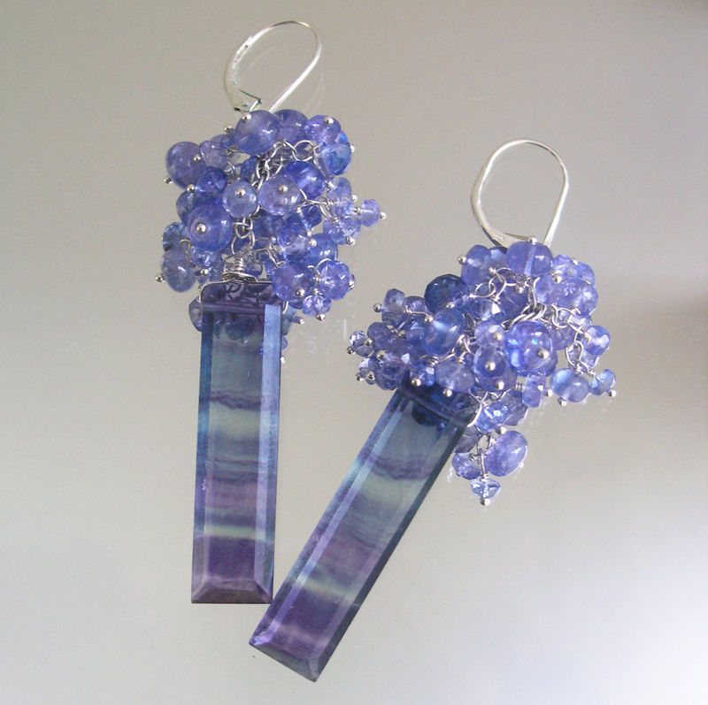 Tanzanite Tassel Earrings with Long Striated Fluorite Dangles, Gemstone Leverback Earrings - product images  of