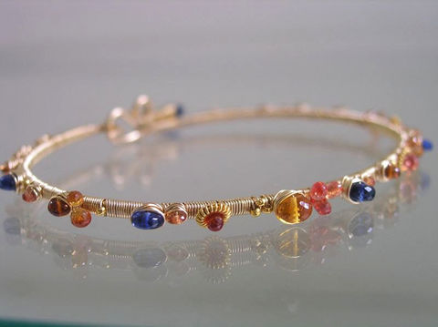 Sapphire,and,Kyanite,14k,Gold,Filled,Bangle,,Blue,Orange,Gemstone,Wire,Wrapped,Bangle,Jewelry,Bracelet,Signature_Bangle,Sapphire_Bracelet,Gold_Bracelet,Gemstone_Bangle,Stacking_Bangle,Gemstone_Bracelet,Navy_Orange_Bangle,Original_Design,Tangerine_Bangle,bellajewels,Gemstone_wire_bangle,layering_bracelet,hand_wrought_bangle,14k gold fill,wi