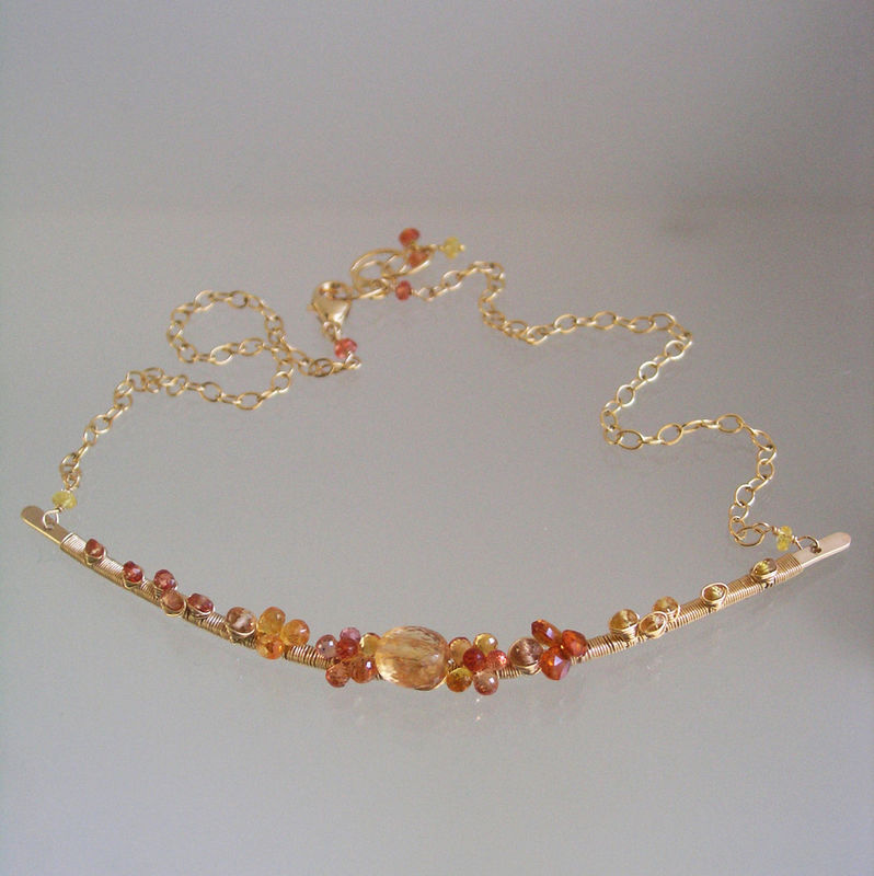 Golden Gemstone 14k Gold Filled Curved Bar Necklace, Wire Wrapped Delicate Collar with Sapphires, Spessartite, and Topaz - product images  of