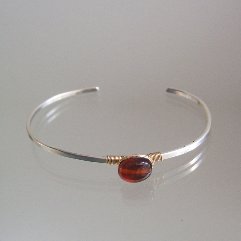 Modern Gemstone Sterling Cuff, Mixed Metal Minimalist Bracelet with single Amber Hued Spessartite  - product images  of