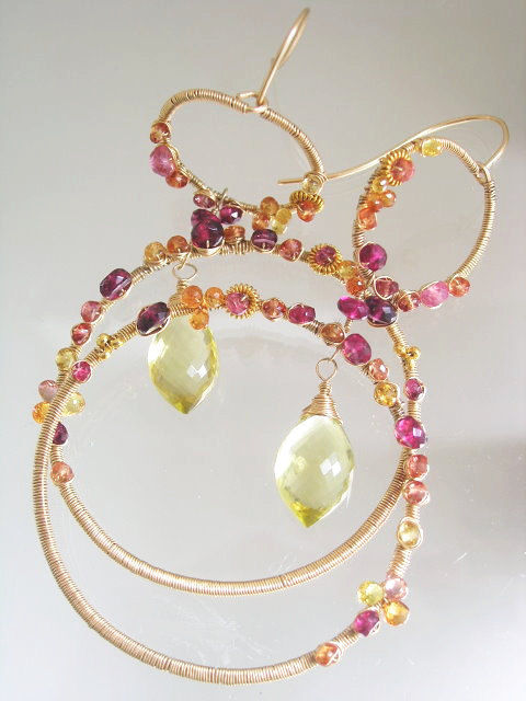 Large Wire Wrapped Sapphire Double Hoops, Statement Making Gemstone Earrings with Tourmaline and Lemon Quartz - product images  of