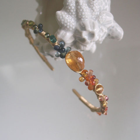 Gemstone,14k,Gold,Filled,Cuff,,Wire,Wrapped,Bracelet,with,Imperial,Topaz,,Vesuvianite,Jewelry,Gemstone_Cuff,Sapphire_Bracelet,Imperial_Topaz,Wire_Wrapped,Blue_Orange_Gold,Hand_Wrought,Original_Design,Signature,Bella_Jewels,Ocean_gold_cuff,Summer_gold_cuff,Wrapped_jewelry,14k gold filled wire,gemstones,imperial topaz,sa