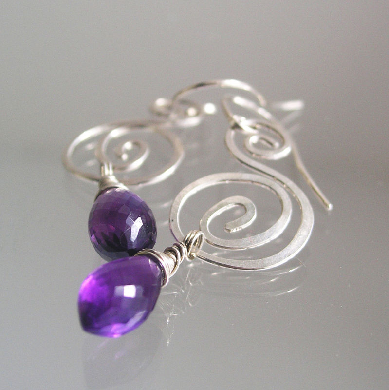 Sterling Spiral Earrings with Amethyst, Purple and Silver Nautilus Dangles, Small and Lightweight, Original Design, Signature - product images  of