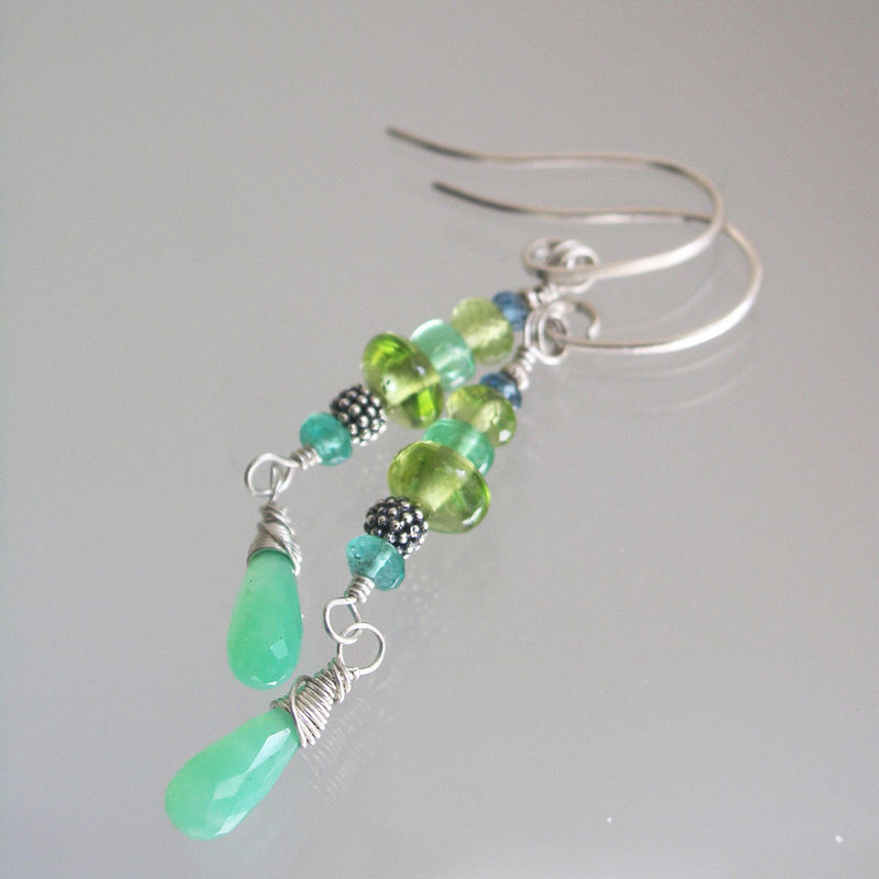 Green Gemstone Sterling Silver Linear Earrings with Peridot, Chyrsoprase, Tsavorite - product images  of