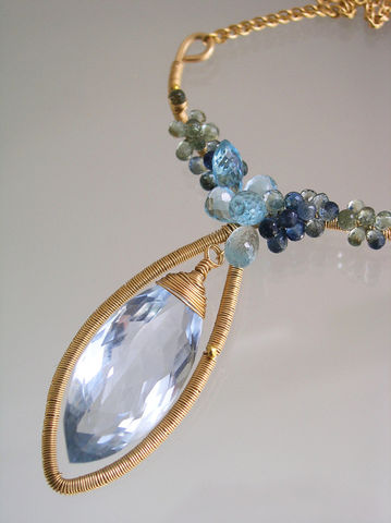 Blue,Topaz,14k,Gold,Filled,Sculptural,Pendant,Necklace,with,Sapphires,and,Quartz,,Statement,Piece,Jewelry,Original_Design,Blue_Topaz,Gold_Pendant,Blue_Topaz_Necklace,Sapphire_Necklace,Wire_Wrapped,Artist_Made,Shades_of_Blue,Bellajewels,Sculptural_Necklace,Sapphire_Pendant,statement_necklace,14k gold filled wire,gemstones,blue quart