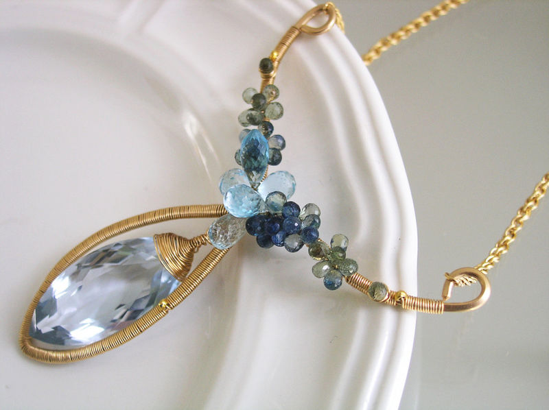 Blue Topaz 14k Gold Filled Sculptural Pendant Necklace with Sapphires and Blue Quartz, Statement Piece - product images  of