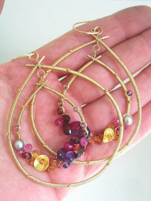 Gemstone Gold Filled Hoops, Wire Wrapped Double Teardrops, Statement, Amethyst, Ruby, Tourmaline, Sapphire, Garnet, Original Design - product images  of