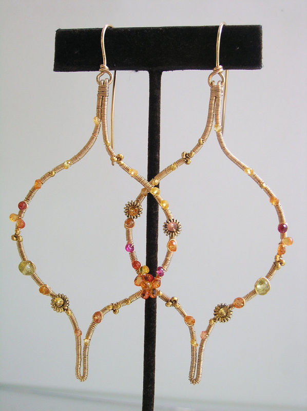 Sculptural Orange and Gold Sapphire Hoops in 14k Gold Fill, Moroccan Design, Made to Order - product images  of