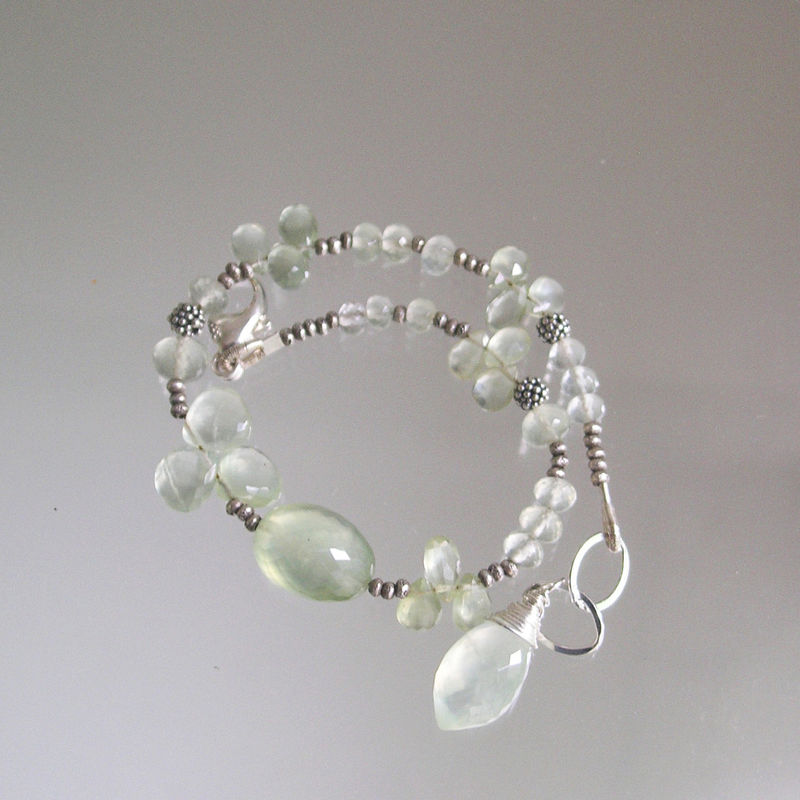 Prehnite Sterling Beaded Bracelet, Ethereal Gemstone Layering Bracelet - product images  of