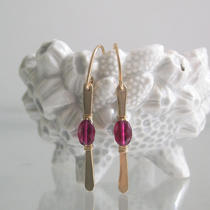 Modern and Minimalist Rubellite Tourmaline Earrings, 14k Gold Filled Linear Dangles, Magenta Stems, Lightweight and Everyday - product images  of