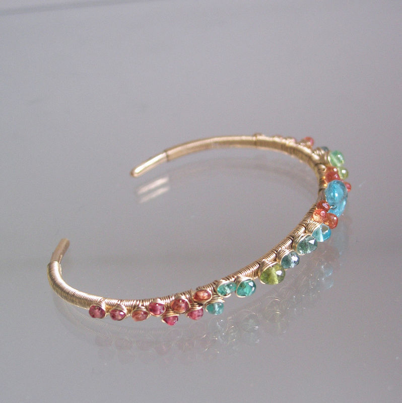 Beach Jewels 14k Gold Filled Cuff Bracelet with Turquoise, Apatite, Orange Sapphire, Tsavorite, Stackable Gemstone Bracelet - product images  of