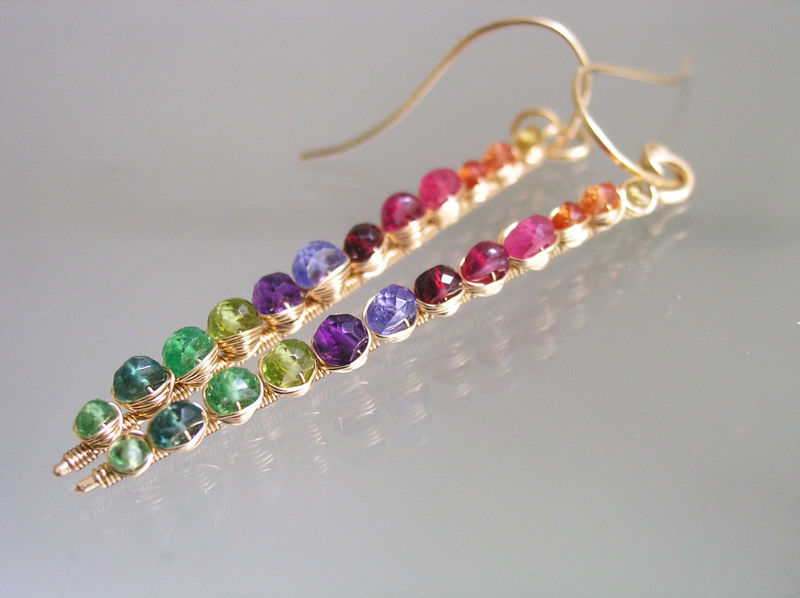 Rainbow Gemstone Gold Filled Linear Earrings, Prismatic Stems with Sapphire, Amethyst, Tsavorite, Ruby, Spinel, Bohemian, Chakra  - product images  of