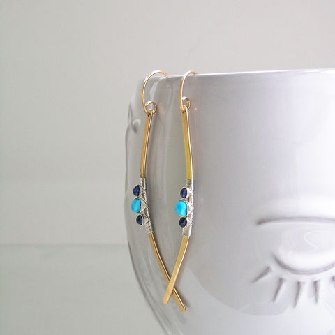 Turquoise,14k,Gold,Filled,Linear,Earrings,,Mixed,Metal,Blue,Sapphire,Curved,Dangles,Jewelry,Earrings,Turquoise_Earrings,Gold_Filled_Earrings,Linear_Earrings,Mixed_Metal,Blue_Sapphire,Curved_Dangles,Sterling_Silver,Statement_Jewelry,Original_Design,Bellajewels,Bella_jewels,modern_jewelry,contemporary_dangles,argentium sterling silver wire
