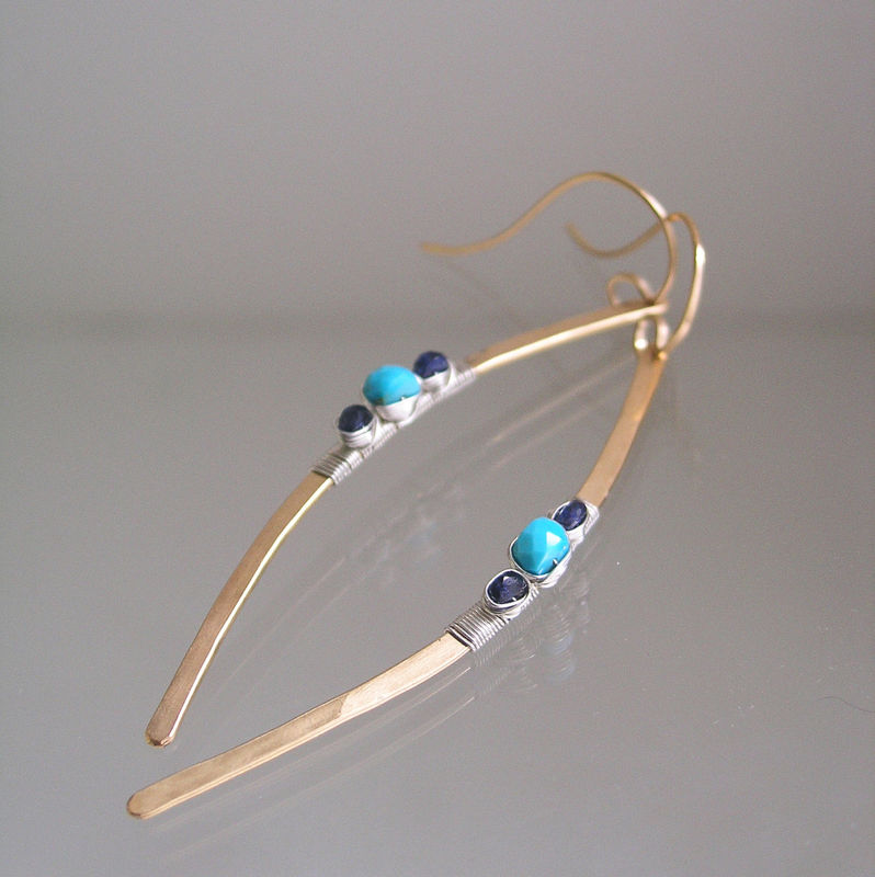 Turquoise 14k Gold Filled Linear Earrings, Mixed Metal Blue Sapphire Curved Dangles - product images  of