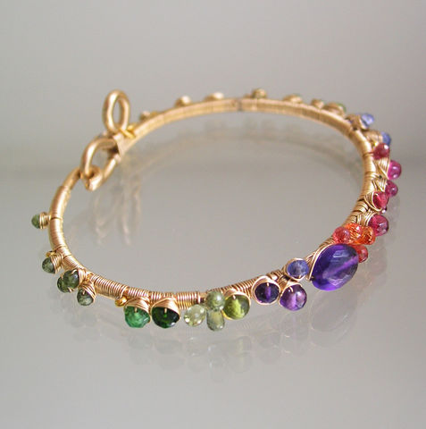 Multi,Gemstone,Bracelet,,Gold,Filled,Wire,Wrapped,Bangle,with,Flower,Charm,,Amethyst,,Sapphire,,Tanzanite,Jewelry,Bracelet,Flower_Charm,Original_Design,Signature,Multi_Gemstone,Gemstone_Bracelet,Gold_Filled_Bangle,Amethyst_Bracelet,Sapphire_Bracelet,Artisan_Bracelet,Colorful_Gem_Bangle,Bellajewels,Wire_Wrapped_Bangle,Tanzanite_Bracelet,14k gold filled wire,ve