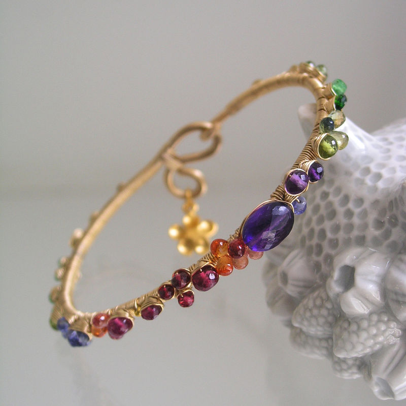 Multi Gemstone Bracelet, Gold Filled Wire Wrapped Bangle with Flower Charm, Amethyst, Sapphire, Tanzanite - product images  of